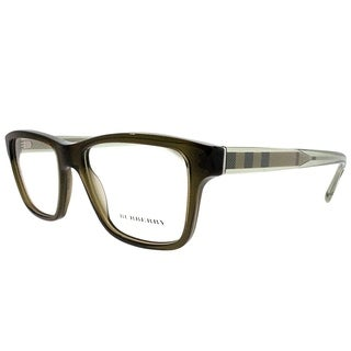 Burberry Rectangle BE 2214 Asian Fit 3010 Unisex Olive Green Frame Eyeglasses