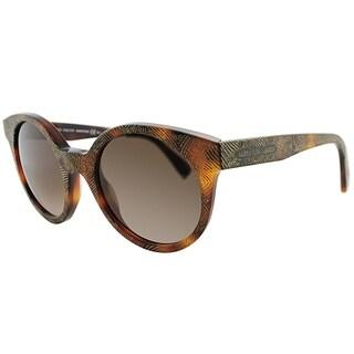 Alexander Mcqueen Round AMQ 4275 OFU J6 Women Matte Havana Gold Frame Brown Gradient Lens Sunglasses