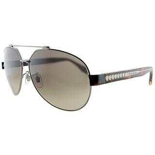 Alexander McQueen Aviator AMQ 4264 P6K HA Unisex Ruthenium Frame Brown Gradient Lens Sunglasses