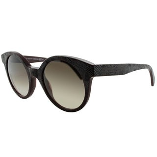 Alexander Mcqueen Round AMQ 4275 0DA JS Women Matte Brown Frame Brown Gradient Lens Sunglasses