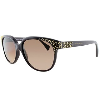 Alexander McQueen Square AMQ 4212 RYY D8 Women Plum Frame Brown Gradient Lens Sunglasses