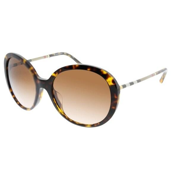 0269632866348 Burberry Round BE 4239QF Asian Fit 300213 Women Dark Havana Frame Brown  Gradient Lens Sunglasses