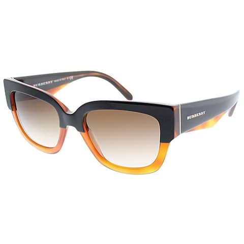 6afdf26b224f Burberry Square BE 4252 365013 Women Top Black On Amber Frame Brown  Gradient Lens Sunglasses