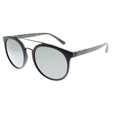 Burberry Round BE 4245 34646G Unisex Matte Black Frame Silver Mirror Lens Sunglasses