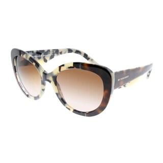 Burberry Cat-Eye BE 4253 365413 Women Top Havana On Beige Havana Frame Brown Gradient Lens Sunglasses