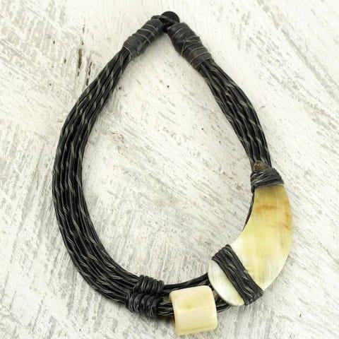 Handmade Leather Horn 'Sougri Black' Necklace (Ghana)