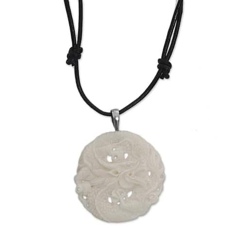 "Handmade Sterling Silver Bone 'Guard Dragon' Necklace (Indonesia) - 7'6"" x 9'6"""