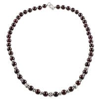Handmade Sterling Silver 'Simple Grace' Garnet Necklace (Thailand)