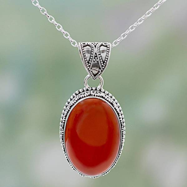 Novica Carnelian pendant necklace, Glow of Embers