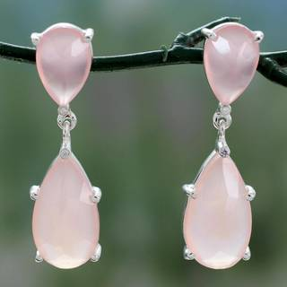 Handmade Sterling Silver 'Pink Brilliance' Chalcedony Earrings (India)