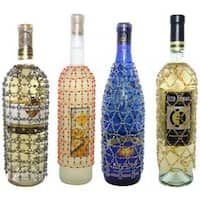 Royal Designs Beaded Wine/Champagne Bottle Covers, Decorative Wine Cover Gift Accessories Assortment A (Set of 4)