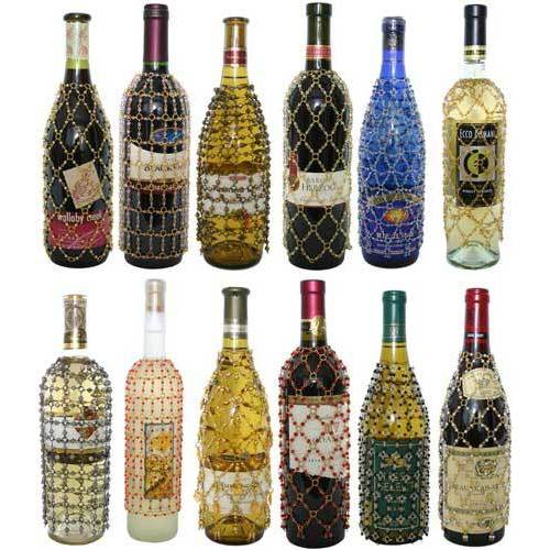 Royal Designs Beaded Wine/Champagne Bottle Covers, Decorative Wine Bag Gift Accessories, Set of 12