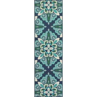 Carson Carrington Skelleftea Blue/ Green Indoor Outdoor Runner Rug - 2'3 x 7'6