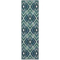 "Ikat Diamonds Navy/ Green Indoor Outdoor Rug (2'3 X 7'6) - 2'3"" x 7'6"""