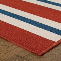 Americana Striped Red/ Blue Indoor Outdoor Rug - 2'3 X 7'6