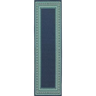 Beautiful Borders Navy/ Green Indoor Outdoor Rug (2'3 X 7'6)