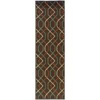 """Lattice Brown/Ivory Indoor-Outdoor Area Rug (2'3X7'6) - 2'3"""" x 7'6"""""""
