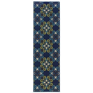 Floral Lattice Indoor-Outdoor Blue/Green Rug (2'3 X 7'6)