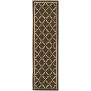 Trellis Floral Brown/Ivory Indoor-Outdoor Rug (2'3 X 7'6)