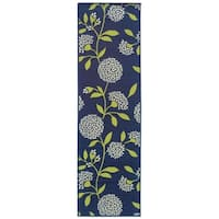 "Bold Blooms Indoor-Outdoor Blue/Green Rug (2'3 X 7'6) - 2'3"" x 7'6"" Runner"