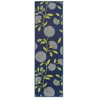 Bold Blooms Indoor-Outdoor Blue/Green Rug (2'3 X 7'6)