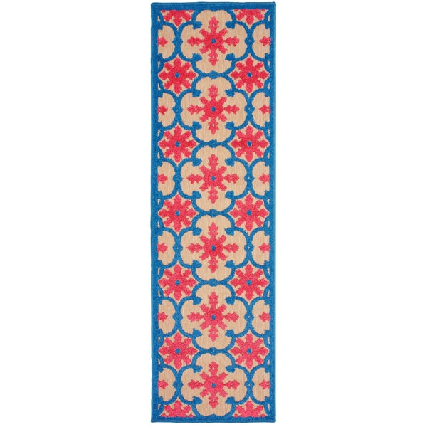 Floral Lattice Sand/ Pink Indoor/Outdoor Rug - 2'3 x 7'6