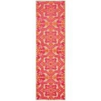 """Mixed Pile Ornate Floral Medallions Sand/ Pink Indoor/Outdoor Rug - 2'3"""" x 7'6"""" Runner"""