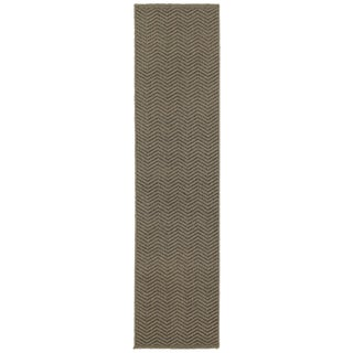 Clay Alder Home Cedar Chevron Textured Loop Pile Grey/ Charcoal Runner Rug - 1'10 x 7'6