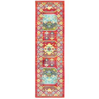 Old World Inspired Red/ Multi Indoor/Outdoor Rug - 2'3 X 7'6
