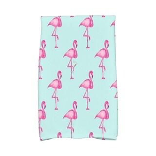 16 x 25 inch Flamingo Fanfare Martini Animal Print Hand Towel