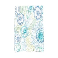 16 X 25 Inch Zentangle 4 Color Floral Print Hand Towel