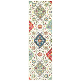 "The Curated Nomad Seale Floral Medallions Ivory/ Multi Indoor/Outdoor Runner Rug - 2'3"" x 7'6"" Runner"