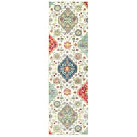"""The Curated Nomad Seale Floral Medallions Ivory/ Multi Indoor/Outdoor Runner Rug - 2'3"""" x 7'6"""" Runner"""