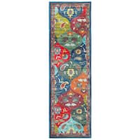 Palm Canyon Spyglass Floral Panel Multicolored/ Blue Polypropylene Runner Rug - 2'3 x 7'6