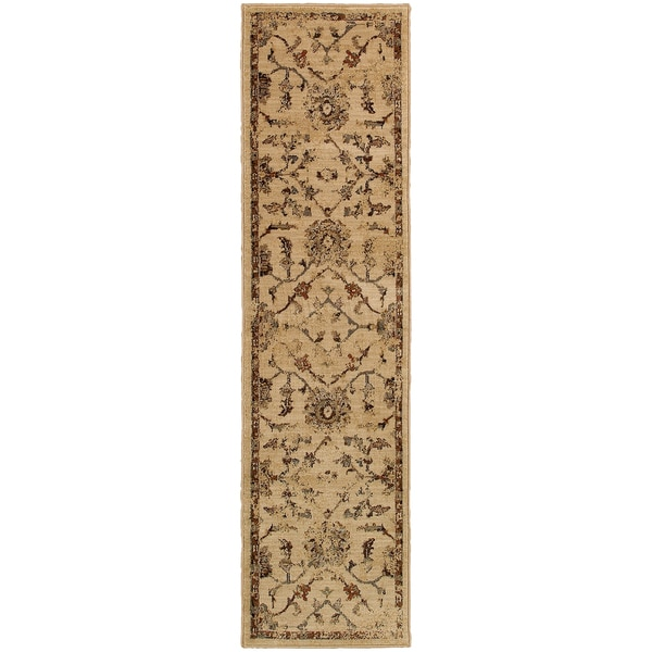 "Distressed Oriental Ivory/ Beige Rug (1'10X7'6) - 1'10"" x 7'6"" Runner"