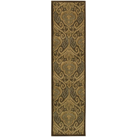 "Floral Panel Green/ Ivory Rug - 1'10"" x 7'6"" Runner"