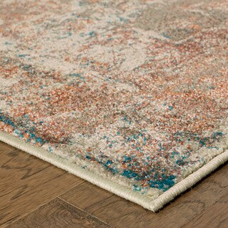 Distressed Traditional Beige/ Multi Rug (2'3 X 7'6)