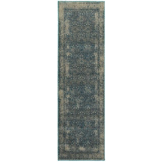 """Faded Traditional Navy/ Grey Rug (2'3 X 7'6) - 2'3"""" x 7'6"""" Runner"""