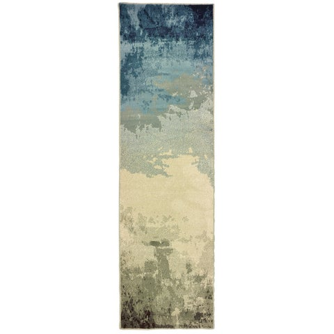 "Carson Carrington Kerava Abstract Blue/ Beige Area Rug - 2'3"" x 7'6"" Runner"
