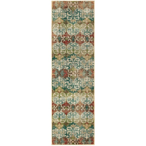Faded Floral Multi/ Ivory Area Rug - 2'3 x 7'6