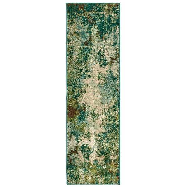 """Abstract Distressed Blue/ Green Area Rug (2' 3 X 7' 6) - 2'3"""" x 7'6"""" Runner"""