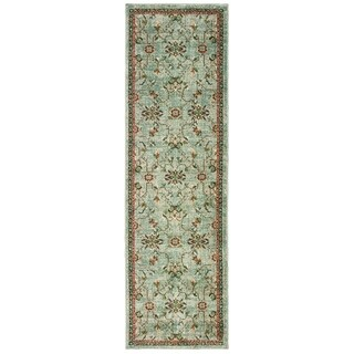 Floral Traditional Blue/ Teal Area Rug (2' 3 X 7' 6)