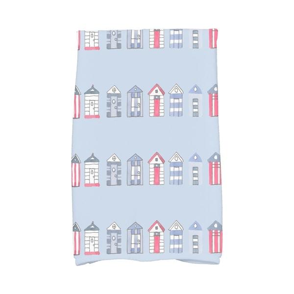16 x 25 Inch Multi Beach Hut Stripe Print Hand Towel
