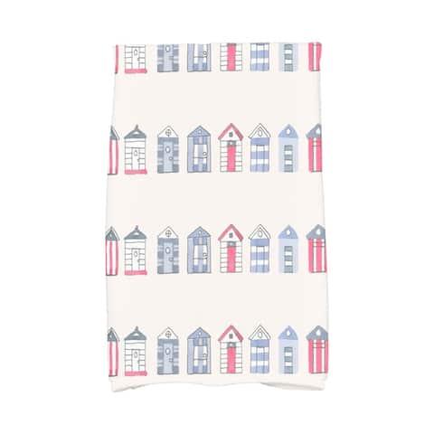 18 x 30 Inch Multi Beach Hut Stripe Print Hand Towel