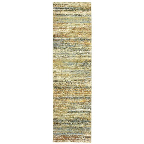 Textural Stripes Gold/ Green Area Rug - 2'3 X 8'