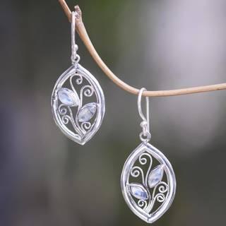 Handmade Sterling Silver 'Paradise Leaves' Rainbow Moonstone Earrings (Indonesia)