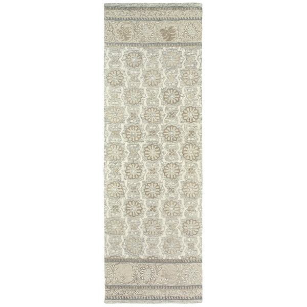 """Copper Grove Lalemant Blooming Ash/ Sand Handcrafted Undyed Wool Runner Rug - 2'6"""" x 8' Runner"""