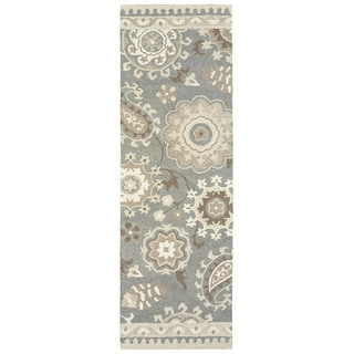 """Copper Grove Marthrown Floral Grey/ Sand Handcrafted Undyed Wool Runner Rug - 2'6"""" x 8' Runner"""