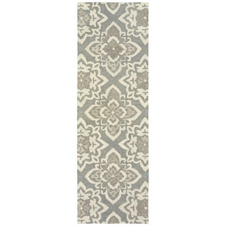 """Floral Lattice Grey/ Sand Handcrafted Undyed Wool Area Rug (2'6 X 8') - 2'6"""" x 8' Runner"""