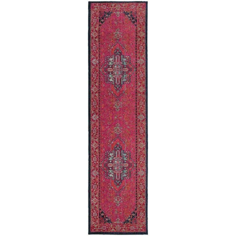 """The Curated Nomad McGaa Traditional Oriental Pink/ Blue Runner Rug - 2'7"""" x 10' Runner"""